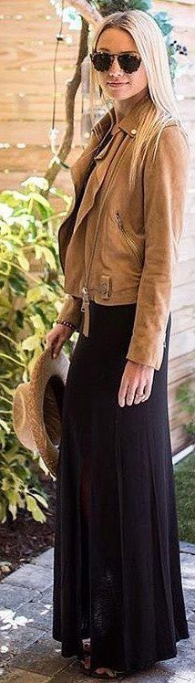 #spring #outfits long black dress, brown suede jacket