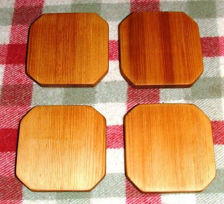 Handcrafted wooden drink coasters, built from western red cedar and finished with 100% food grade Tung Oil. www.joeowoodshop.com