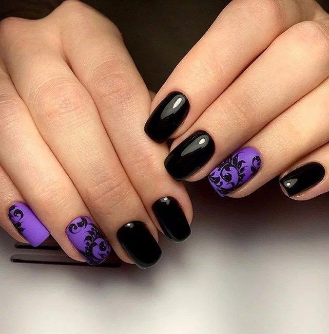 Purple Black Color Nail Arts Design 2019
