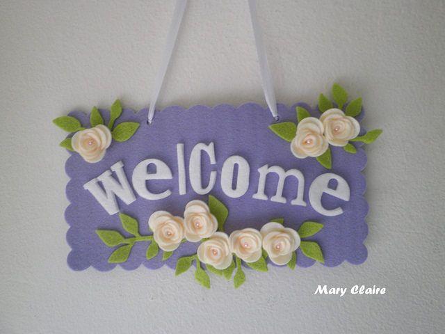 targhetta fuoriporta welcome lilla fiori panna
