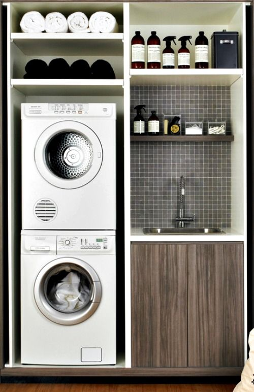 Lavadora En Un Baño Pequeno Es Posible:Small Laundry Room Ideas