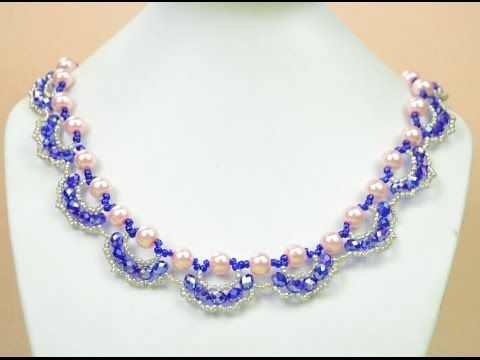 Beading4perfectionist : Swarovski 6mm pearl and 4mm bicone necklace beading tutorial - YouTube