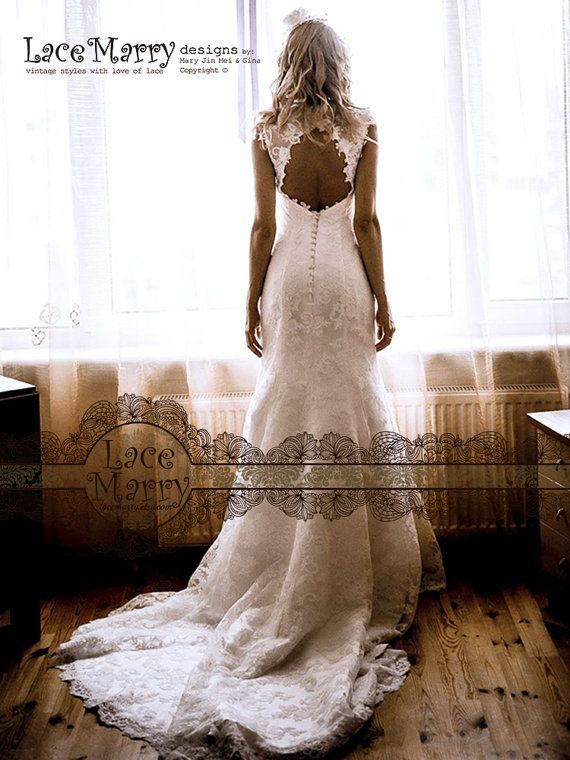 Alencon Lace Wedding Dress Fit and Flare Wedding by LaceMarry