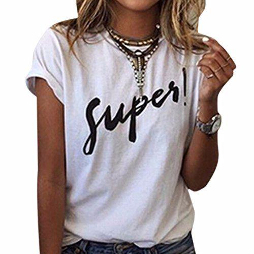 """Camiseta para mujer de manga corta en color blanco con mensaje impreso """"Super!"""". ¿Eres una chica Super? Hazlo público con estilo hipster"""