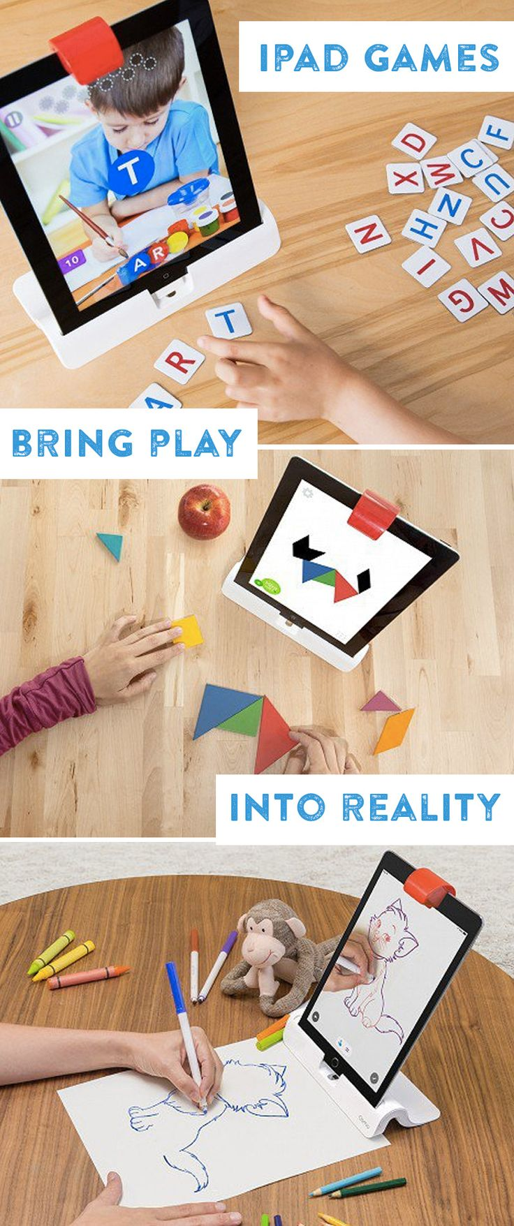 Osmo is a groundbreaking, award-winning way to integrate the iPad and the physical world—it gives kids a more tangible way to learn and play. Osmo sees what's happening in front of it via a special reflector that you place over your iPad's camera. Using free apps and some physical game pieces, Osmo takes digital learning beyond the screen.