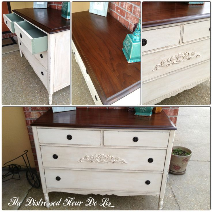 Antique dresser painted with General Finishes Antique White milk paint and the top stained with GF Java Gel stain.