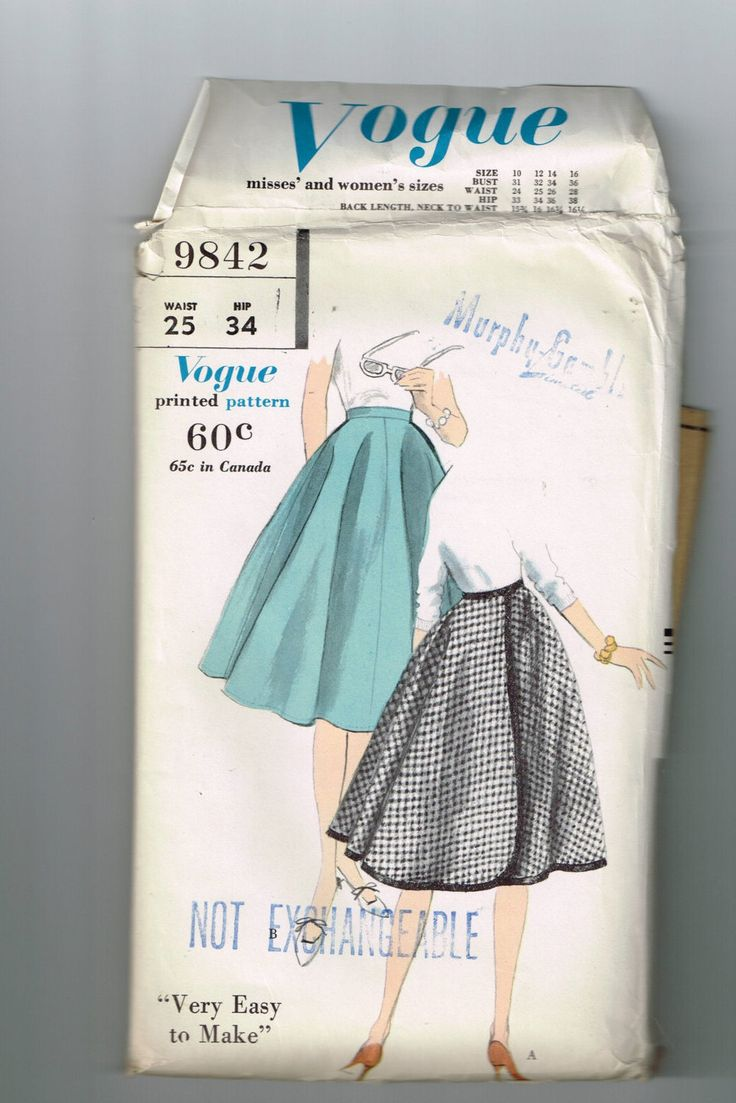 "1959 Vogue #9842 Back Wrapped Reversible Skirt Size 12 Waist 25"" Sewing Pattern by TheShoppingMoll on Etsy"