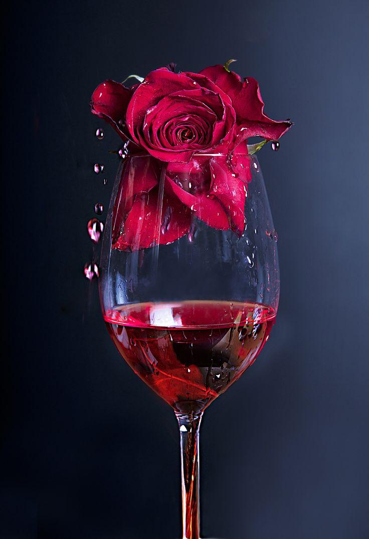 картинки бокал вина и роза столица
