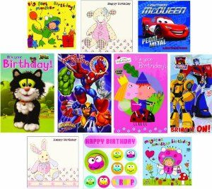 Cute Pack of 10 Single Children's Kids Greeting or Birthday Cards £9.59 from Amazon.co.uk
