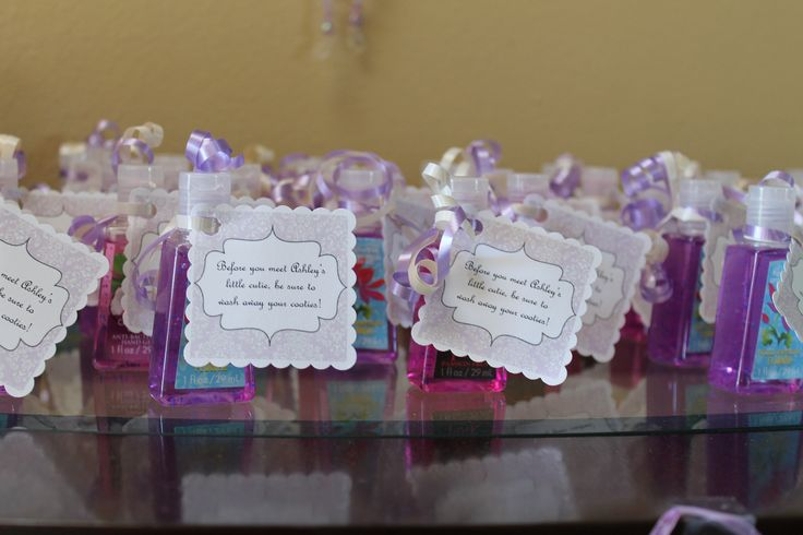 Baby shower favors hand sanitizer tag says quotbefore you for Hand sanitizer bridal shower favors