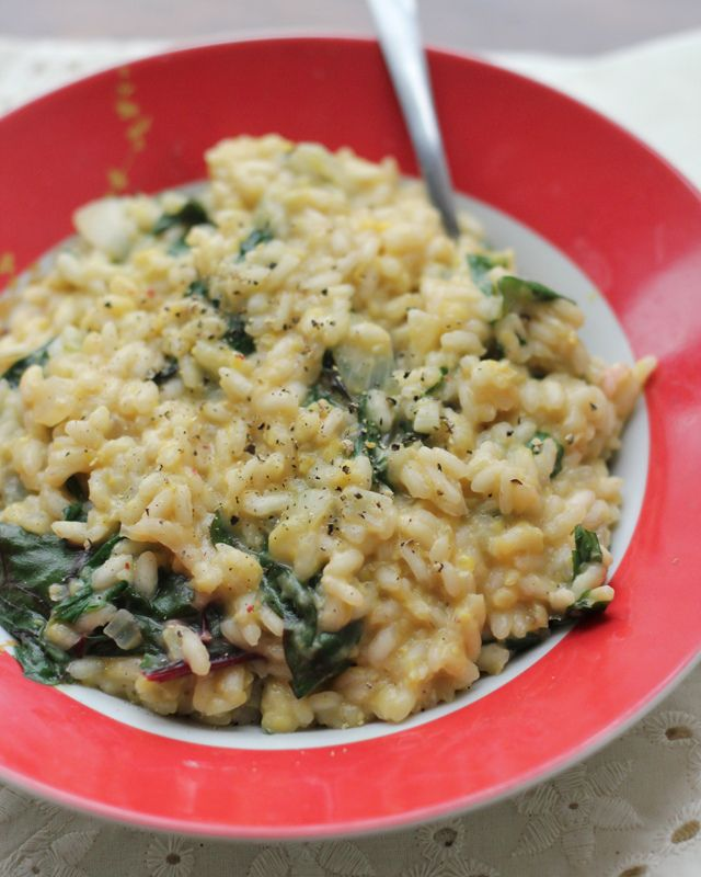 corn and caraway risotto with swiss chard - will sub coconut milk/cream & nutritional yeast to create a vegan version of this yumminess!