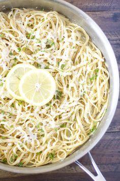 One Pan Lemon Garlic Pasta - Yellow Bliss Road