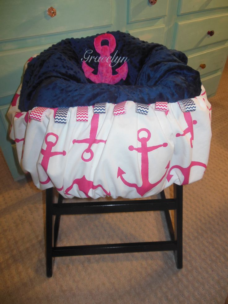Hot pink Anchor Shopping Cart or High Chair Cover by TWINSANDQUINN, $55.00