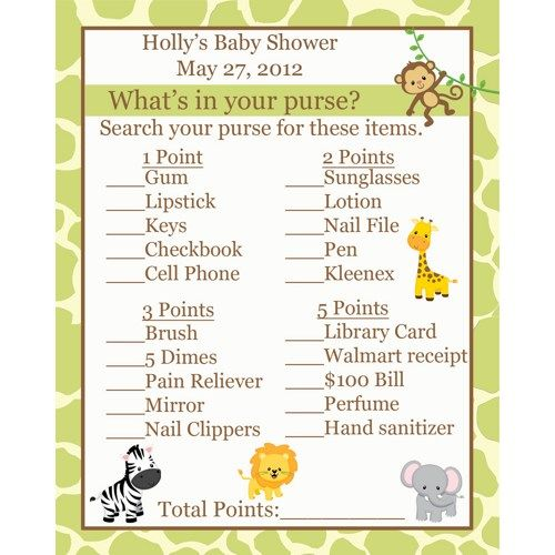 24 Baby Shower Game Cards Whats In Your Purse Game Safari Baby Safari Baby  Shower Games