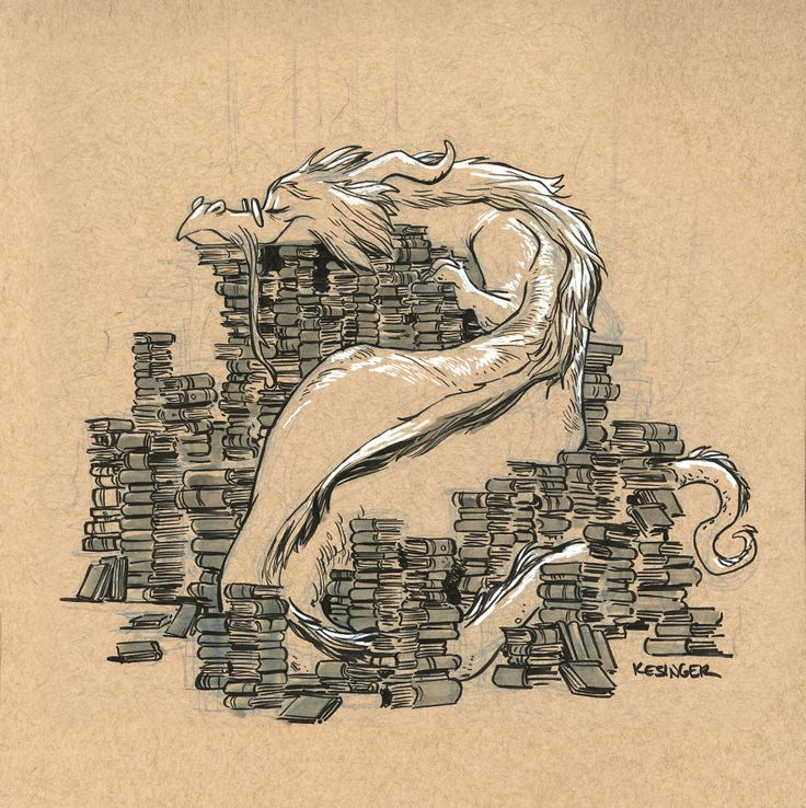 """""""This book wyrm loves to hoard her literary treasures.""""  by Brian Kesinger"""