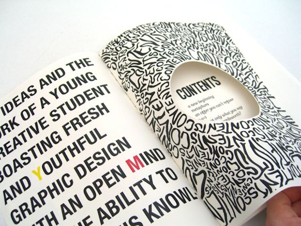 graphic design inspiration creative mind useful knowledge having bits cut out - Publication Design Ideas