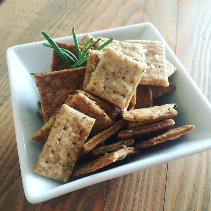 Homemade sea salt and rosemary whole wheat crackers