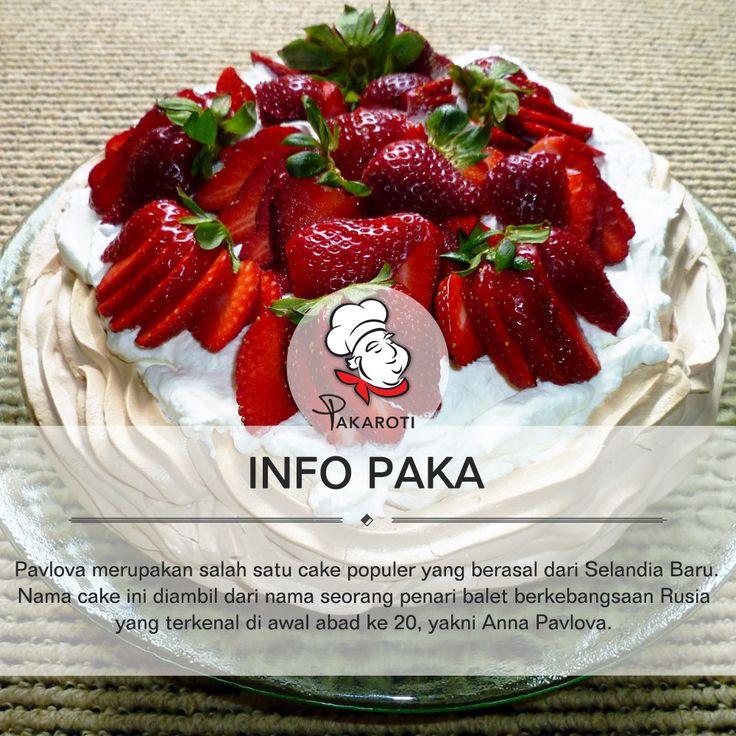 Pavlova berasal dari daratan Selandia Baru. Nama cake ini diambil dari nama seorang penari balet berkebangsaan Rusia yang terkenal di awal abad ke-20, yakni Anna Pavlova. Cake ini sendiri dibuat sebagai bentuk penghormatan kepada Anna Pavlova yang pernah mengunjungi Selandia Baru dalam rangkaian tur dunianya pada tahun 1926. Selengkapnya [https://www.facebook.com/Pakaroti/photos/pb.503808666350211.-2207520000.1420802586./835420316522376/?type=3&theater]. #InfoPaka