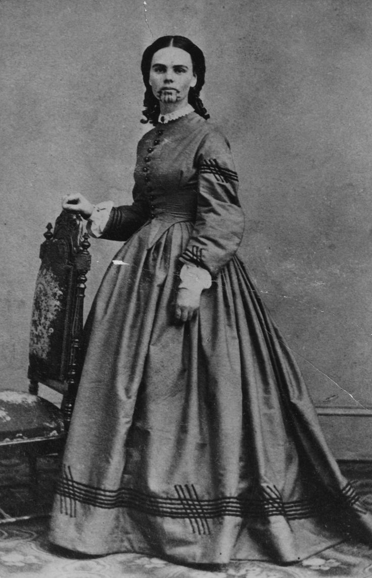 Olive Oatman, 1858. She was the first tattooed white woman in the U.S. After her family was killed by Yavapais Indians, on a trip West in the eighteen-fifties, she was adopted and raised by Mohave Indians, who gave her a traditional tribal tattoo. When she was ransomed back, at age nineteen, she became a celebrity. Photograph courtesy of the Arizona Historical Society, Tucson, 1927.