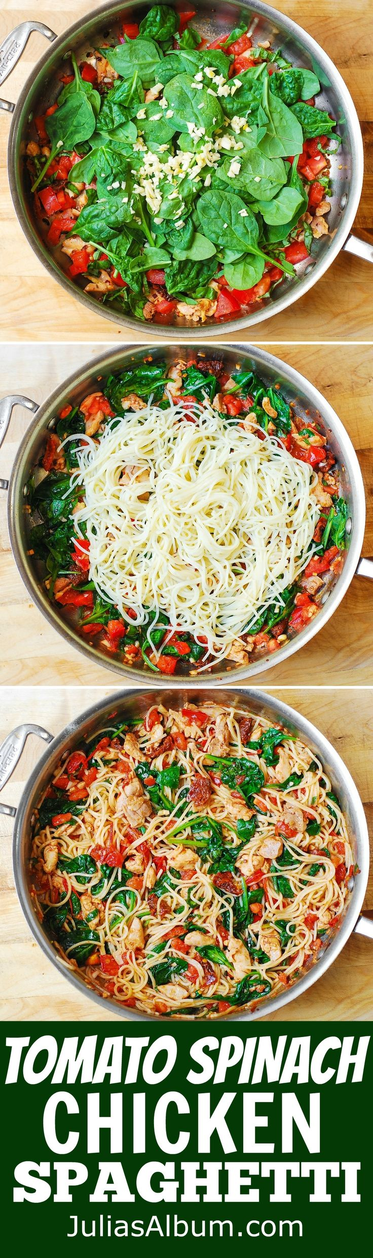 Tomato Basil & Spinach Chicken Spaghetti – healthy, light, Mediterranean style dinner, packed with vegetables, protein and good oils. Use zoodles !