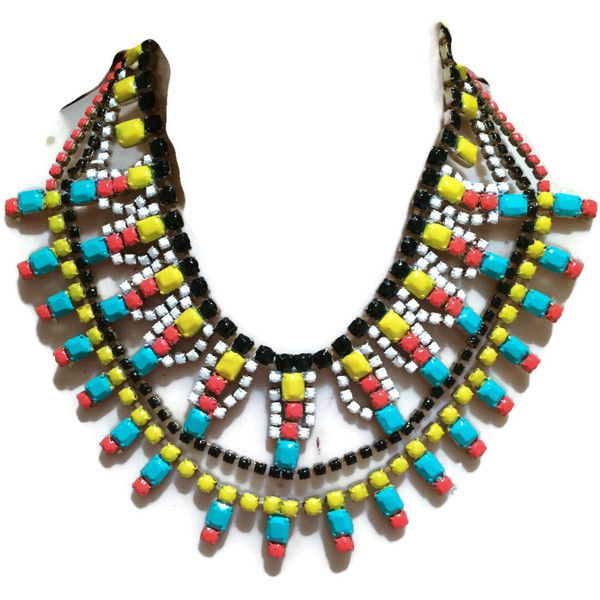 TRIBAL PRINCESS multi-colored black, white, orange, yellow and... ($206) ❤ liked on Polyvore featuring jewelry, necklaces, colorful statement necklace, white necklace, vintage turquoise necklace, yellow statement necklace and white statement necklace