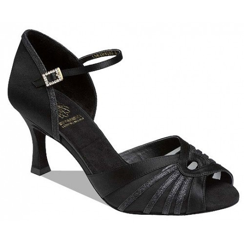 "Supadance 1562, black silk  Black Glitter Social dance shoe with diamante buckle and hook fastening. Available in Regular fitting with 2½"" Flare heel  Price: 92.30€"