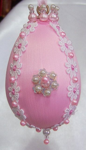 Pink Pearl and Crystal Beaded Easter Egg