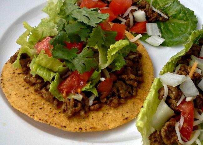Carne picada con la mezcla de condimentos Taco hecho en casa