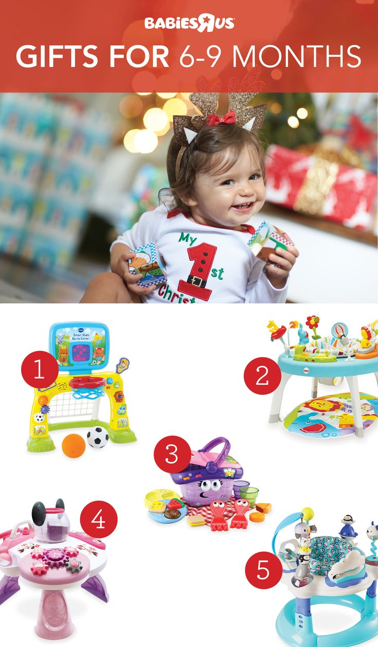 It's play time! Now that baby can sit up and crawl, check out gifts that help strengthen muscles and improve coordination like sports centers (1) and activity centers (2). You can't go wrong with learning toys (3), which help stimulate language development. The Minnie Bow Cute Discovery Activity Table (4) and bouncers (5) will also keep your little one entertained all day. Shop our #gift guide now!