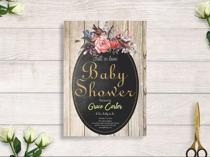 classic baby shower chalkboard invitation, rustic chalkboard and flower, rustic wood invitation baby shower #BBS212 by BRIDETALKpaperie on Etsy