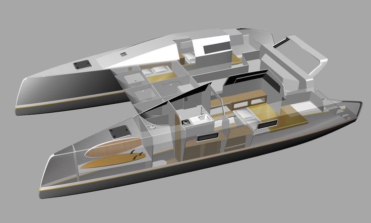 Flying Fish eleven Port Side cutaway of interior