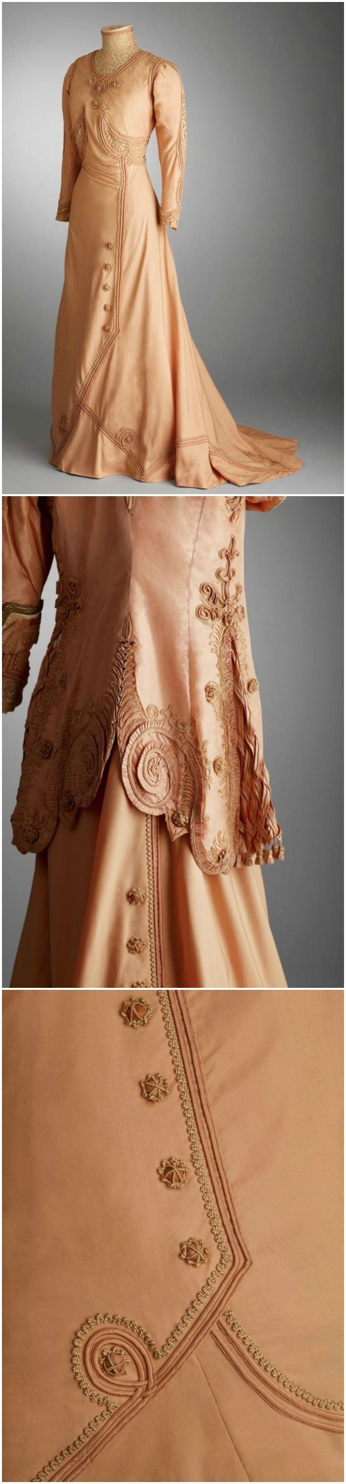 Visiting Dress with Jacket, by Au Bon Marché / M.A. Boucicaut, Paris, 1908-11, Hillwood Estate, Museum & Gardens. Late Edwardian dress of peach colored silk linen with a high lace collar and matching jacket. Silk taffeta rope cording, covered wooden buttons, crocheted cotton thread, and gold thread embroidery. Tubular sleeves (dress and jacket). Covered wood buttons and trim elaborately repeated on the jacket. Sides of the jacket embellished with lattice work and hanging covered wood…