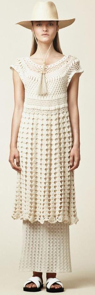 Ryan Roche Ivory Crochet Dress