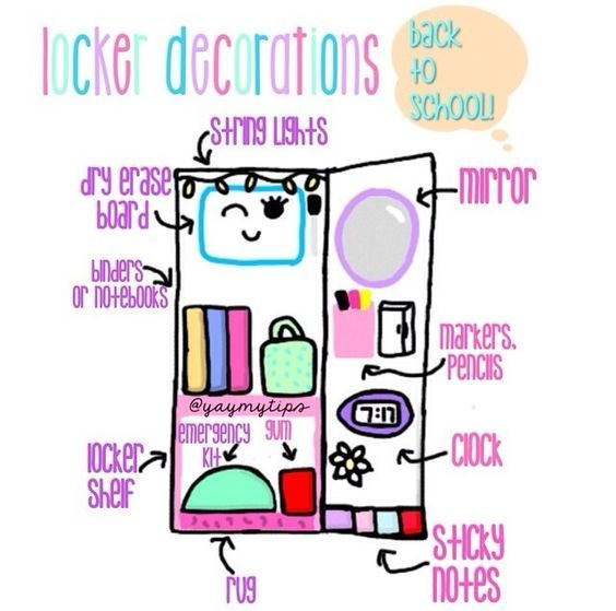 Locker Decor Plan | DIY Locker Organization for School Girls                                                                                                                                                      More