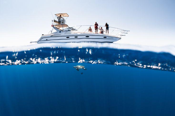 Très belle photo de Greg Lecoeur : le bateau Cala Rossa sur l'eau et une tortue Caouanne sous l'eau.#tortuemarine