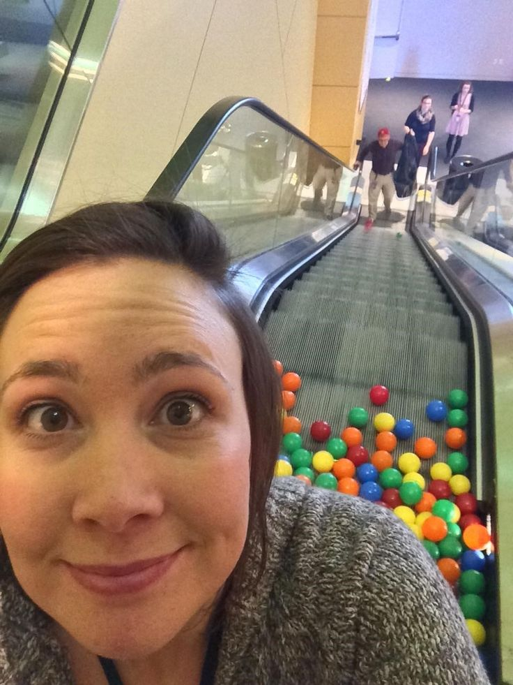 We tried a colorful new experiment... sending ball-wall balls down the escalator!