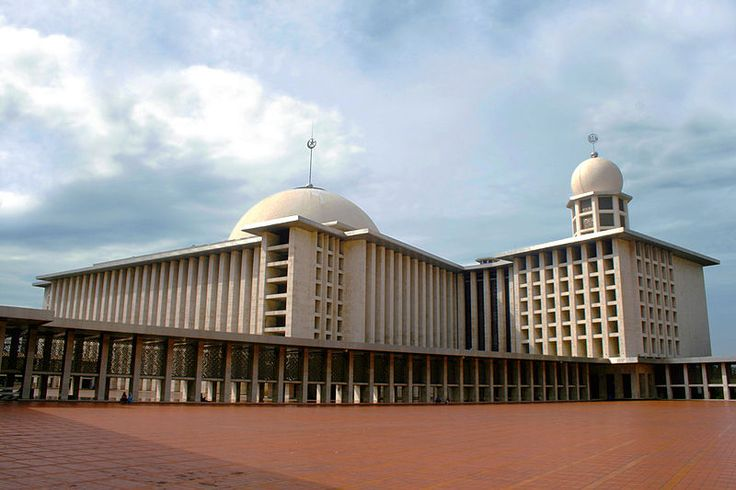 he dazzling alabaster marbled Istiqlal mosque of Jakarta, Indonesia, seen from the base of its tower. The national mosque of Indonesia, and also the largest mosque in Southeast Asia.