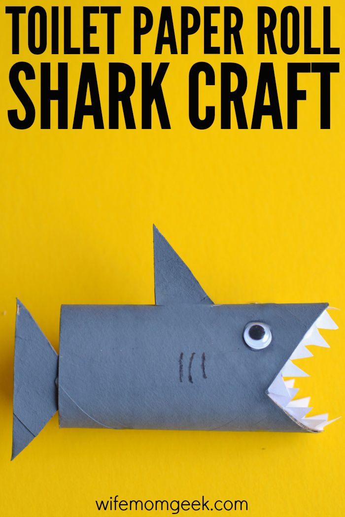 Shark Toilet Paper Roll Craft - This easy kids craft is so fun! Make it during shark week or when your kids are studying an ocean unit.