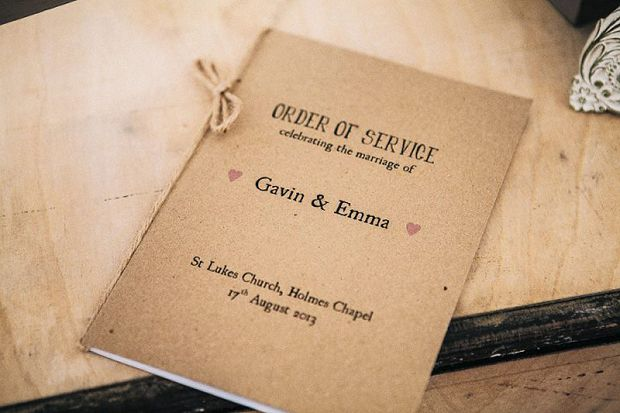 Rustic kraft paper ceremony booklet with twine ribbon #ceremonyprogram  #orderofservice