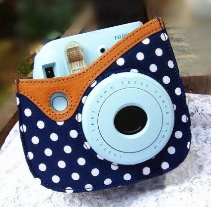 Amazon.com: Colorful Dots Spot Camera PU Leather Case Bag For Fujifilm Instax mini 8 + Free Shoulder Strap - Blue: Camera & Photo