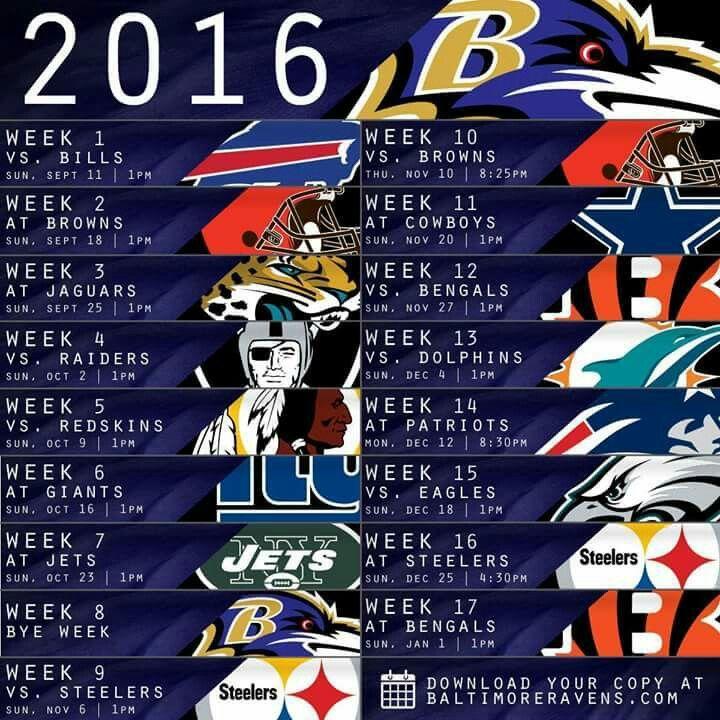 2016 Baltimore ravens schedule woo-hoo can't wait!!!!!