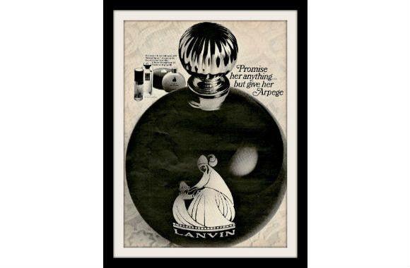 "1966 Lanvin Arpege Perfume Ad ""Round Bottle"" Vintage Advertisement Print"