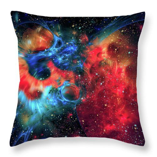 """Far Into Space Throw Pillow by Marfffa Art.  Our throw pillows are made from 100% spun polyester poplin fabric and add a stylish statement to any room.  Pillows are available in sizes from 14"""" x 14"""" up to 26"""" x 26"""".  Each pillow is printed on both sides (same image) and includes a concealed zipper and removable insert (if selected) for easy cleaning."""