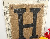Burlap Monogram Letter Sign, Powder Blue, Your choice of letter, Letters H, G, L, R, S, N, C, M, or any letter of the alphabet. $32.00, via Etsy.