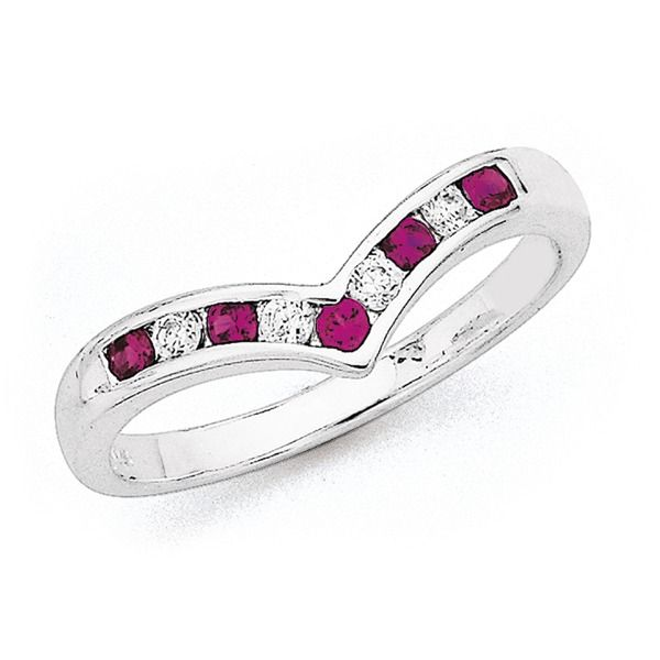 Sterling Silver Synthetic Ruby & Cubic Zirconia Ring