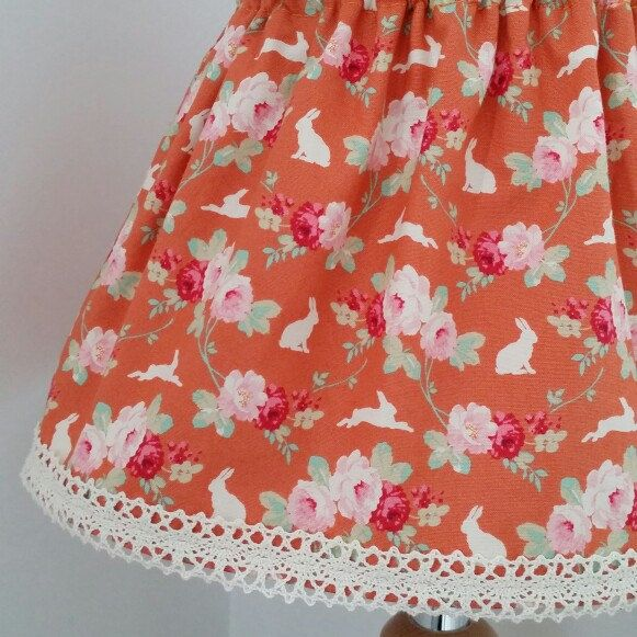 Stunning woodland bunny skirt with lace trim. Fabric by Tilda.