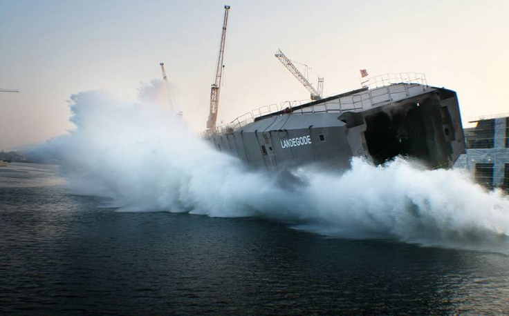 """Sidelaunching of the LNG-fuelled Lofotenferry MF """"Landegode"""". It's spectacular, 3500 tonnes of steel hitting the water sideways with an enourmous splash!"""