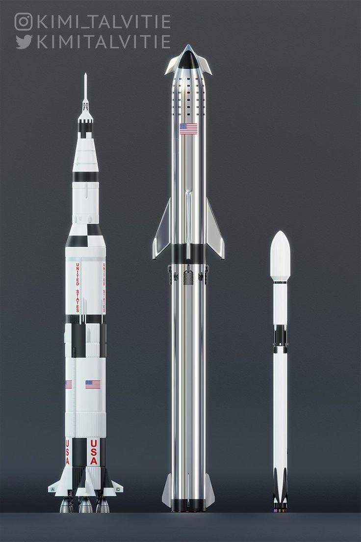 Супер Хэви и Старшип в масштабе с Сатурн 5 и Фэлкон 9