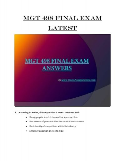 We specialize in providing you with the best sources for completing the MGT 498 final exam. Achieve excellence with us by getting 100% correct answers from our team of experienced and certified professors