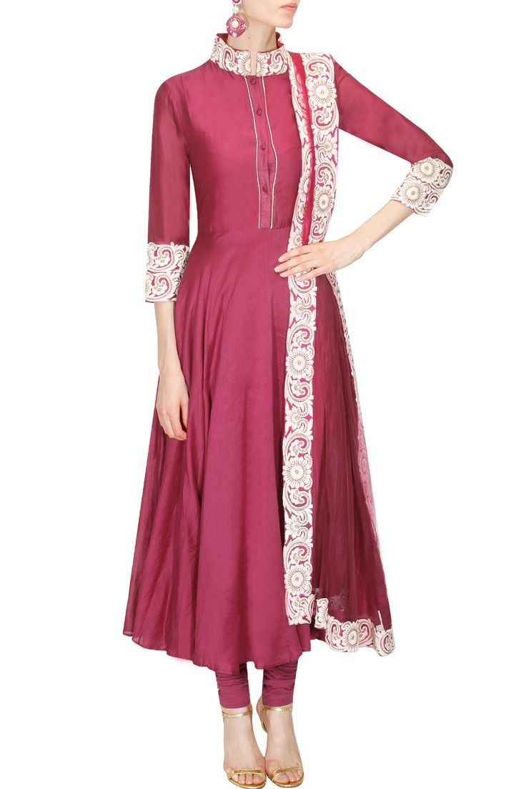 Maroon chanderi anarkali suit set available only at Pernia's Pop Up Shop.
